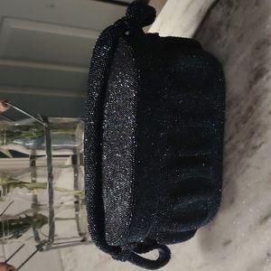 Vintage hard tote bag- pleated, short handle.